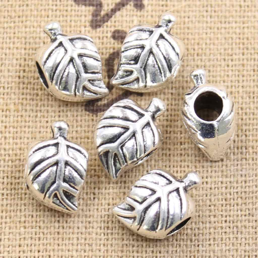 4pcs 14x8x9mm tree leaf 4.5mm big hole bead charm fits antique silver charm bracelets Wholesale