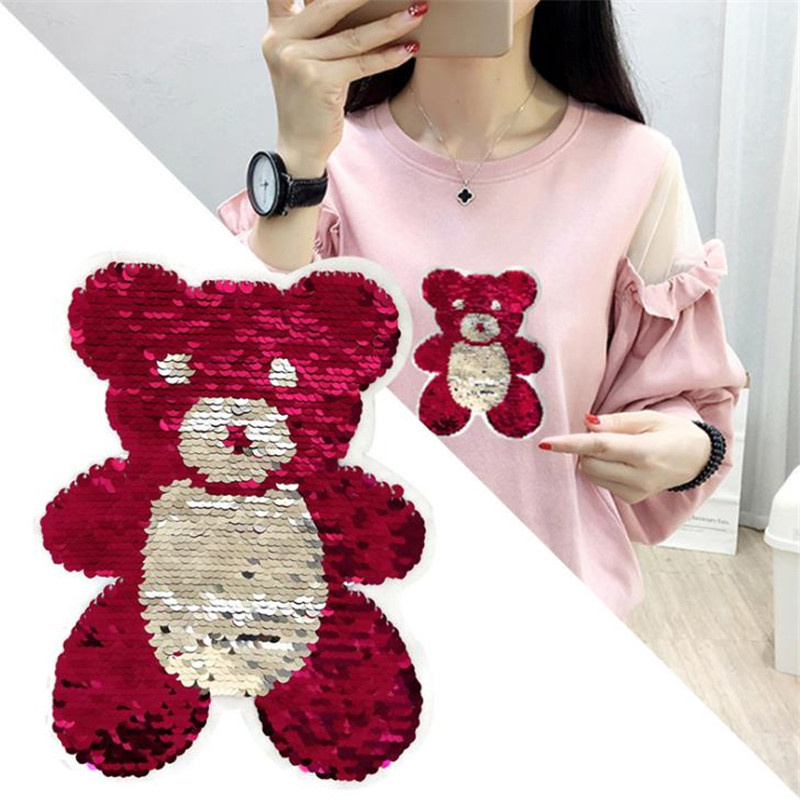 T-shirt Girl Patch 21cm bear flip double sided Patches for clothing Reversible change color sequins T shirt Stickers