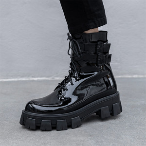 Image 4 - FEDONAS 2020 Winter Warm Punk Cow Patent Leather Women Ankle Boots Lace Up Buckle Short Boots Night Club Party Shoes Woman
