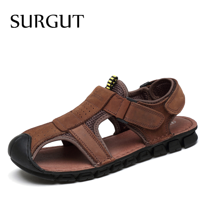 SURGUT Brand Classic Men Genuine Leather Soft Sandals Comfortable Sandals High-Quality Men Roman Summer Men Shoes Size 38~44