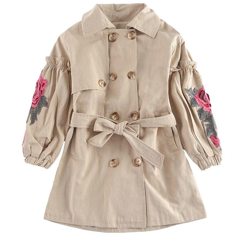 2018 Fashion New Spring Baby Girl Coat Long Jacket Double Breasted Kids Overcoat Children Windbreaker Outwear Flower Print Coats