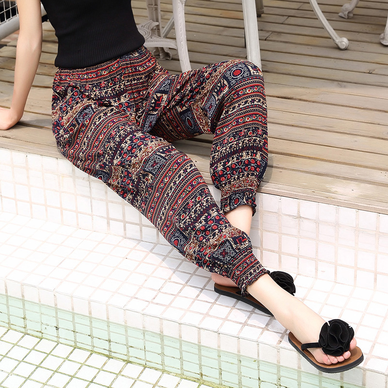 hot women's taro flower wholesale summer ladies cotton casual pants beach pants home leisure nine points harem pants S-2XL