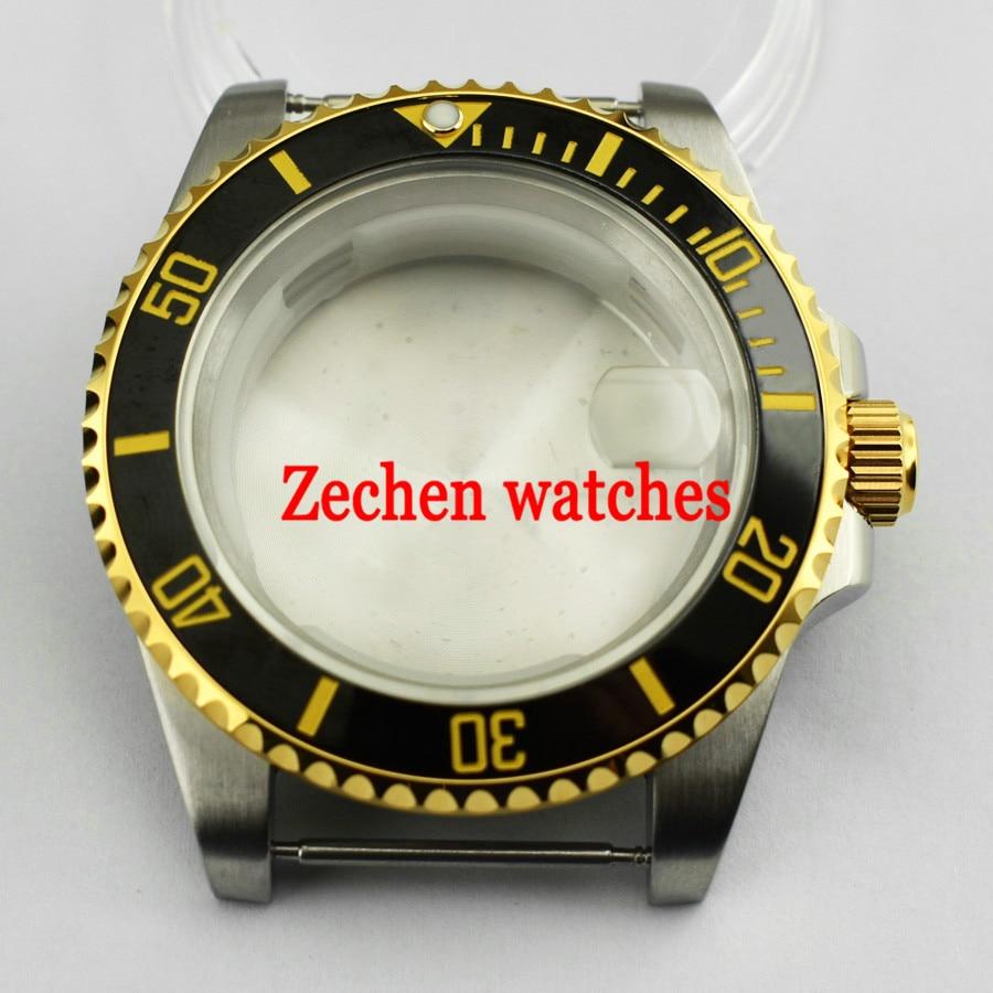 40mm Silver/Gold Wrist Watch Case Fit Parnis mens watch ETA 2836,DG2813/3804,Miyota 8205/8215/821A цена