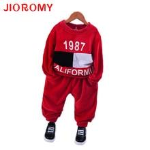 JIOROMY 2017 Autumn and Winter Children Digital Alphabet Printed Long Sleeve T-shirt + Pants Sports Kids Baby Boys Clothing Set