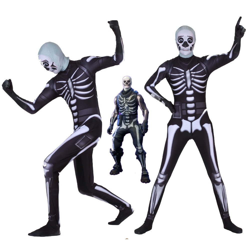 Adult Kids Game Cosplay Costume Skull Trooper Human Zentai Bodysuit Suit Jumpsuits Halloween