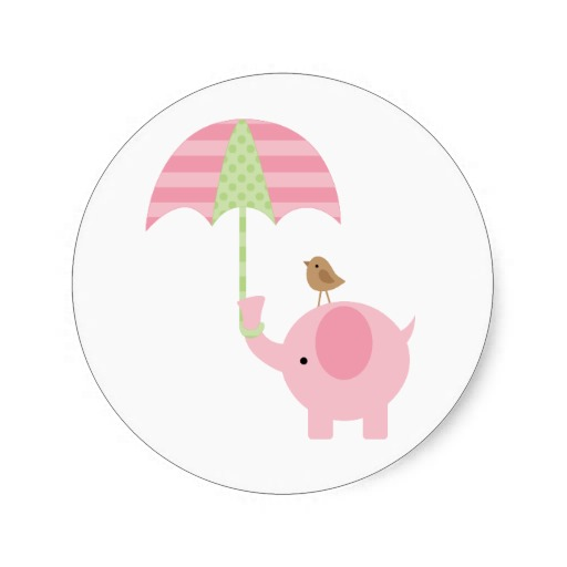 3 8cm Pink Elephant Baby Shower Stickers In Stickers From Home