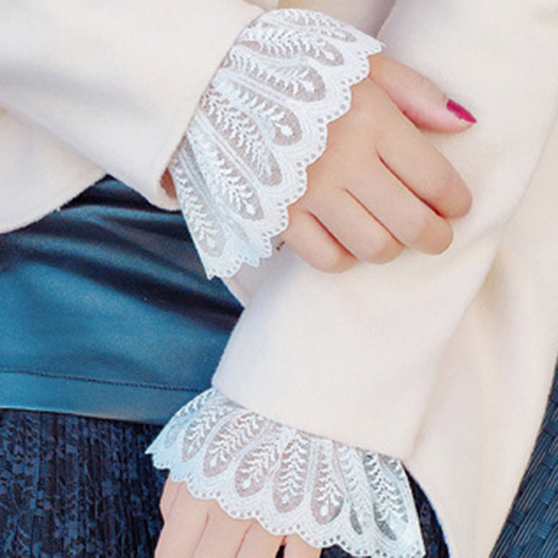 Women Girl Fake Sleeves Wild Lace Cuffs Cotton Pleated Wrist Warmers Fake Sleeves Apparel Accessories Universal Fake Cuffs