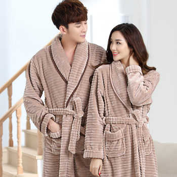 J&Q New Couple Matching Pajamas Leisure Winter Pajamas Men And Women Home Wears Thick Bathrobes Solid High Quality Flannel Robes