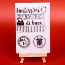 """Italų kalbos žodžiai Skaidrus skaidrus silikoninis antspaudas / antspaudas """"DIY scrapbooking"""" / nuotraukų albumui Dekoratyvinė kortelių gamyba"""