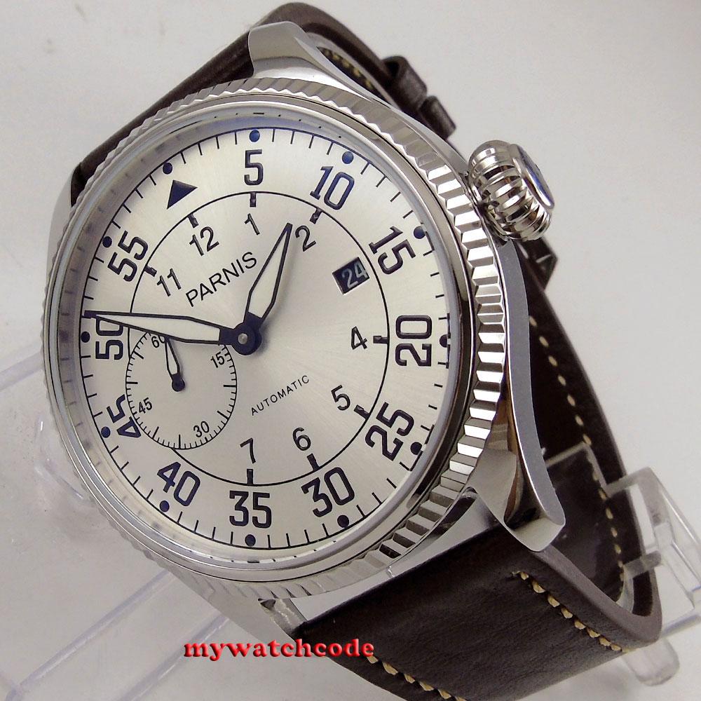 лучшая цена 45mm Parnis silver dial date window coin bezel ST2555 Automatic Movement Mens Watch P905