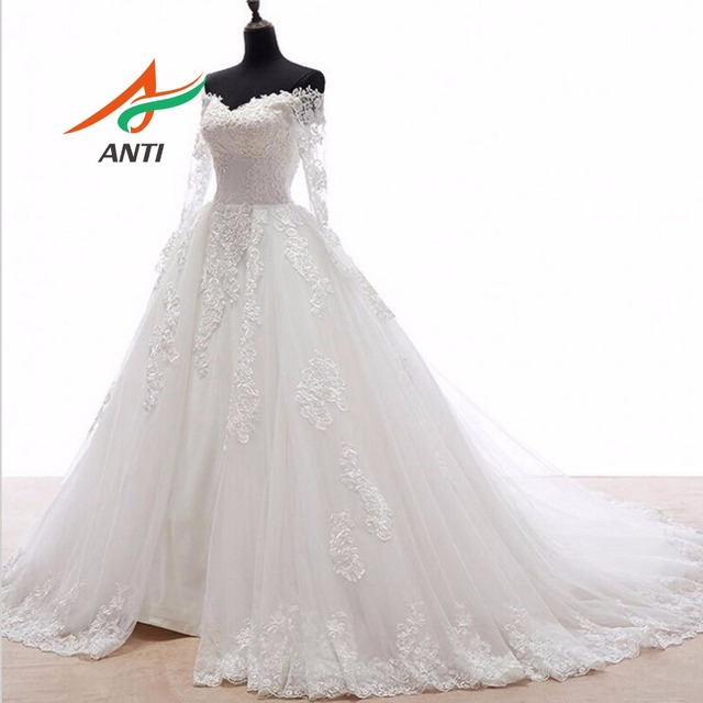 ANTI Elegant Ball Gown Wedding Dress With Long Sleeves Tull Appliques Custom Made 2 Wings Open Train Robe De Mariee Bridal Gown 3