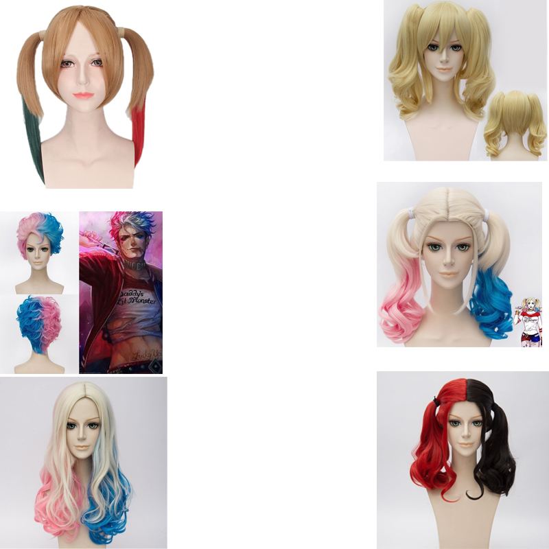 Suicide Squad Harley Quinn Wigs Cosplay Peluca Styled Curly Synthetic Costume Wig Heat Resistant Hair + Wig Cap