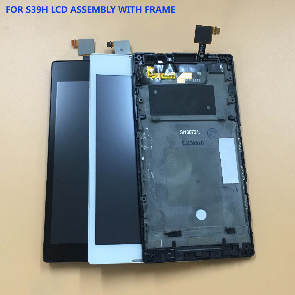 For Sony Xperia C S39h C2304 C2305 Touch Screen Digitizer Sensor Glass Panel + LCD Display Monitor Screen Module Assembly Frame