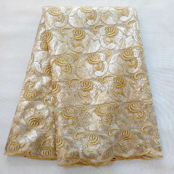Free Shipping Embroidery Material 51 52 Gold Net Fabric With