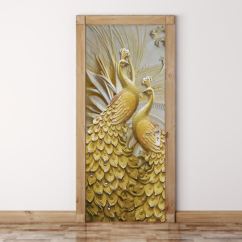 3D Wallpaper Modern Classic Embossed Golden Peacock Photo Murals Wall Paper Living Room Study Elder's Bedroom Door Sticker Decor