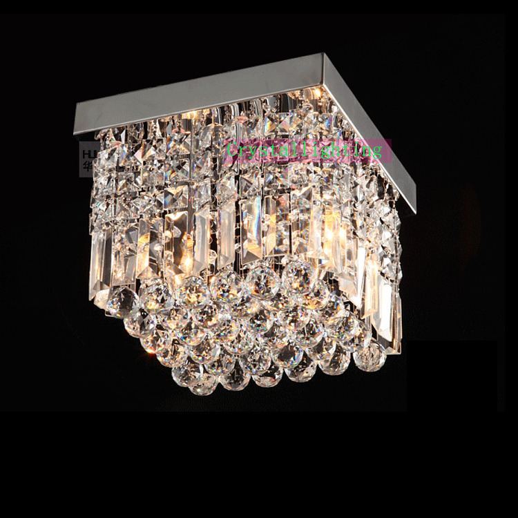 Contemporary Crystal Flush Mount Ceiling Lighting Elegant Square Lamp Modern Polish
