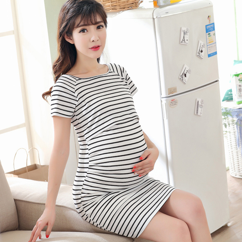 Autumn Striped Dress Maternity Nursing Clother for Pregnant Women Mothers Breastfeeding Dresses Casual Female Pregnancy Clothing