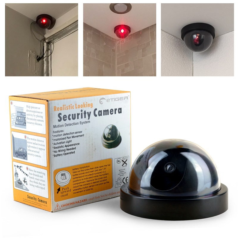 2PCS Outdoor Indoor Video Surveillance Dummy Dome Fake Camera Flashing Red LED Light CCTV Security Accessories fotocamera kamera