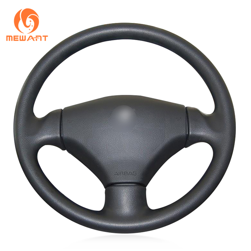 MEWANT Black Artificial Leather Car Steering Wheel Cover for Peugeot 206 2003-2006 mewant black artificial leather car steering wheel cover for peugeot 206 1998 2005 206 sw 2003 2005 206 cc 2004 2005