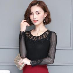 2018 Новый Для женщин рубашки длинный рукав кружева сетки Тонкий комплект Augerps блузка рубашка черный 266