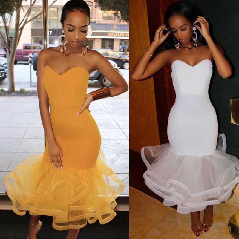 wholesale 2019 Newest Women dress Yellow white Strapless Mermaid Sweet and sexy celebrity Cocktail party bandage dress in Dresses from Women 39 s Clothing