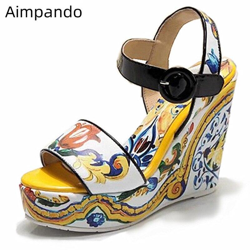 168a6da0 Cheap Sandalias de plataforma de cuñas de lujo de 2019 zapatos de tacón alto  de flores