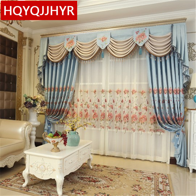 Embroidered luxury European and American high shading curtains for living room modern classic custom curtains for bedroom Hotel in Curtains from Home Garden