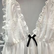 Lisacmvpnel  Net Yarn Sexy Women Nightgown+Pantie Set Deep V Lace Women Sleepwear