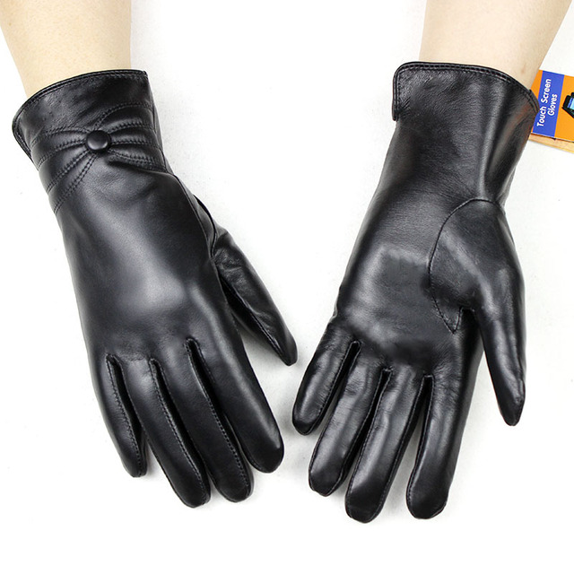 Sheepskin leather gloves womens thick winter warm white rabbit fur lining new ladies touch screen gloves