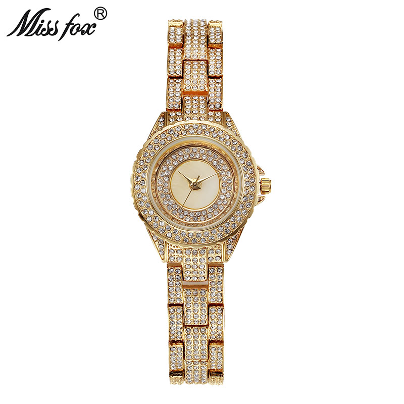 Miss Fox Minimalist Ladies Gold Watches Full Diamond Cheap Watches China Xfcs Simple Fashion Relog Woman Japan Movt Quartz Watch xfcs