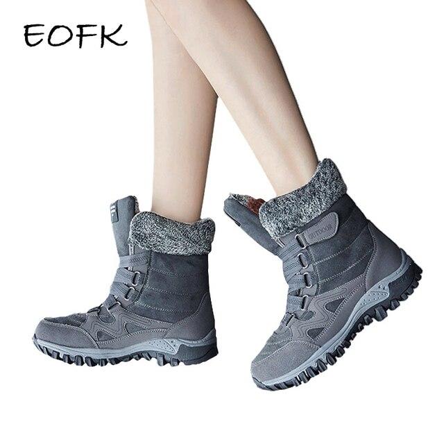 EOFK 2019 Frauen Stiefel Winter Stiefel Frau Warm Mit Pelz Stiefeletten Für Frauen Leder High Top Sneakers Plüsch Schuhe
