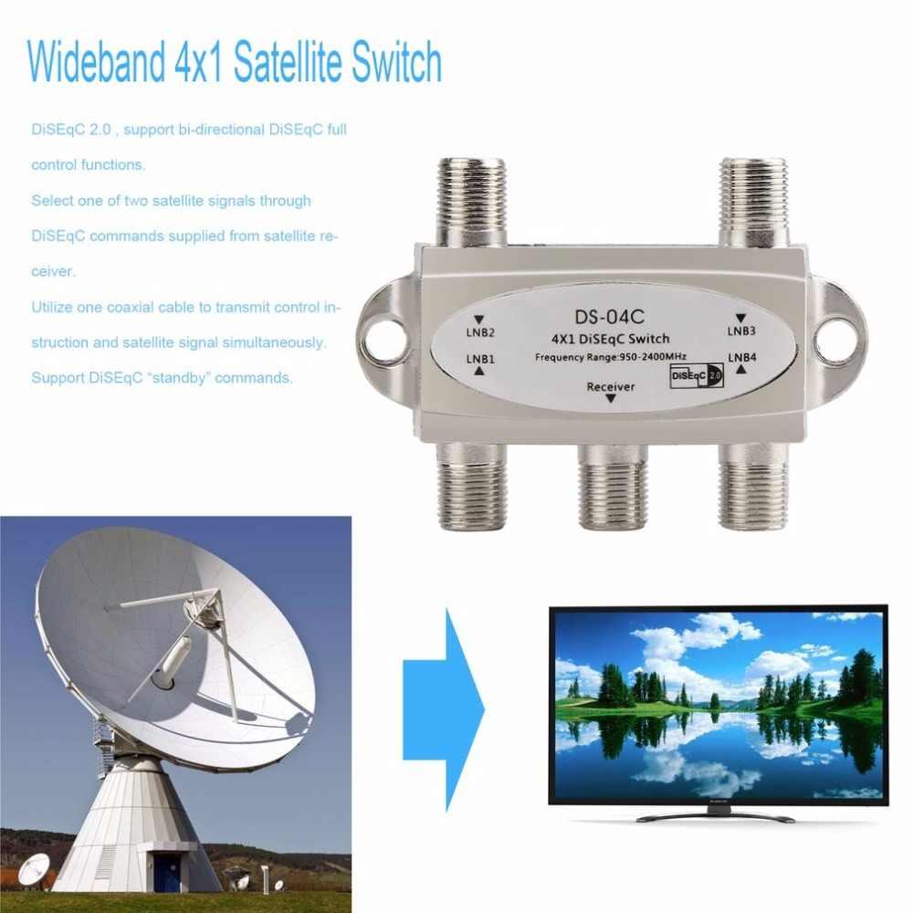 2017 nouveau large bande 4x1 DiSEqC 2.0 modèle 4x1W prime Satellite commutateur ale parabolique LNB haute Isolation interrupteur pour récepteur Satellite