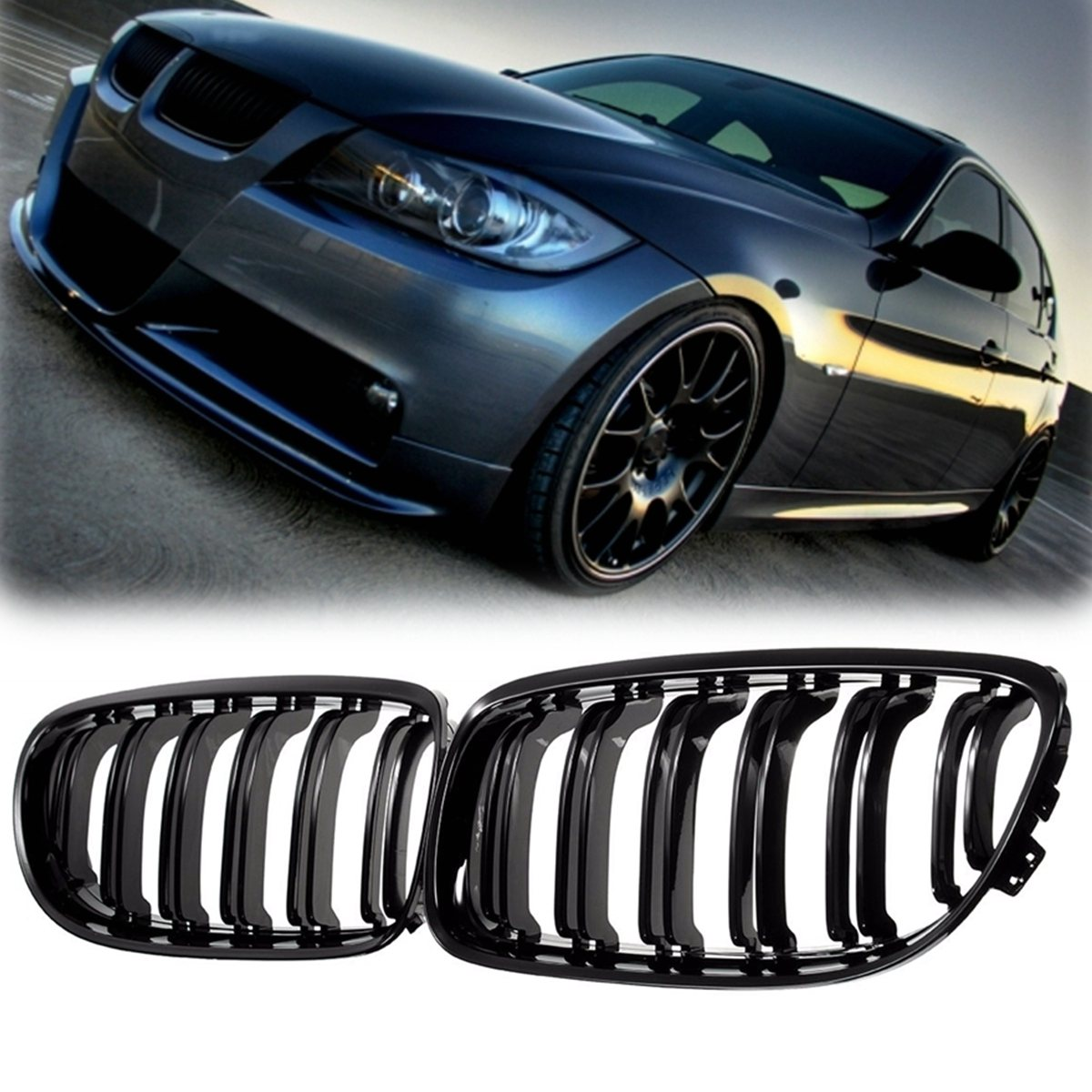 Pair Matte/Gloss Black Car Front Grille For BMW E90 LCI 3-Series Sedan/Wagon 09-11 Racing Grills