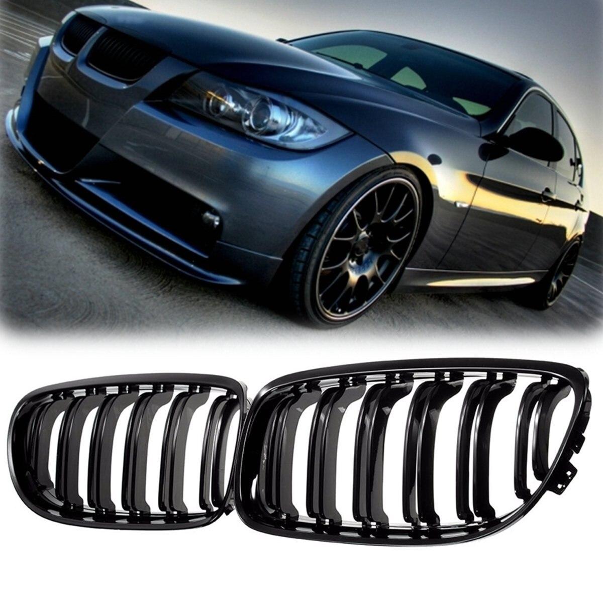 Paire calandre noire mate/brillante pour BMW E90 LCI 3 séries berline/Wagon 09-11 grilles de course