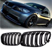Par de grade preta fosca/brilhosa para frente do carro, para bmw e90 lci 3 series sedan/wagon 09 11 grelhas de corrida