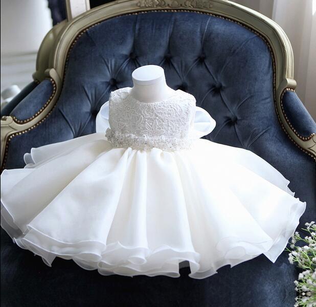 Glizt Baby Girl Dress White Chiffon Ball Gown Bead Bow Belt Baptism Dress for Girl Infant