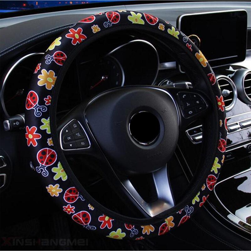 5 Colors Fashion  Steering Wheel Cover Cartoon Flowers Steering Cover All Seasons Wheel Cover Universal Car Accessory