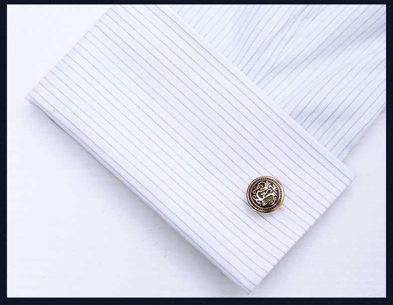KFLK 2019 botão de camisa botão de punho para o presente dos homens Marca de Luxo cuff Dragão Chinês cuff link abotoaduras de Ouro de Alta Qualidade Jóias
