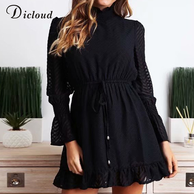 Dicloud повседневная водолазка черная линия мини платья женщин осень 2019 элегантный рюшами с длинным рукавом ну вечеринку свадебные платья Стритстайл