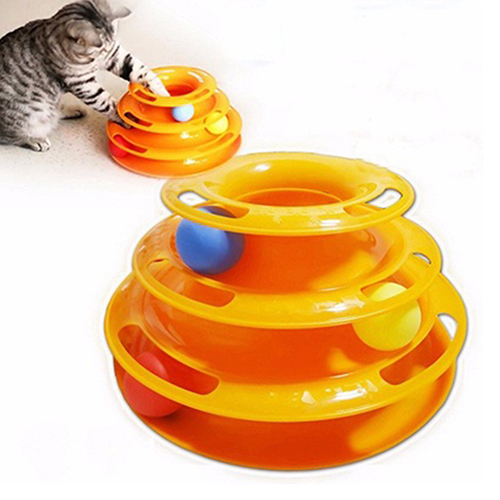 Pet Toy Games Funny Interactive Trilaminar Disk Plate Ball Cat Kitten Play Teaser ...