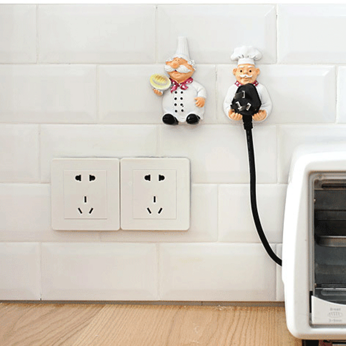 Useful  Cook Design Storage Shelf Holder Power Plug Holders Rack Socket Wall Mounted Adhesive Hanger Kitchen Accessories