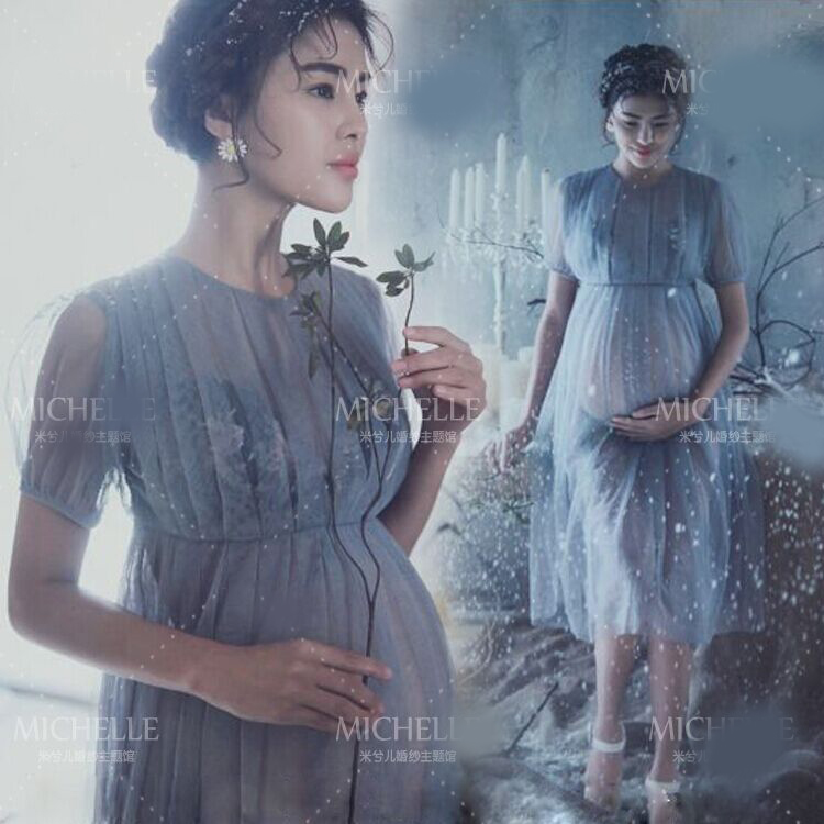 Gray Maternity Pregnant women Photography Props Two layer Princess Noble Gentlewomanly Voile Dress Fashion costume photo shoot