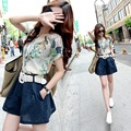 2015 new summer fashion show thin loose printing short sleeved shirt two piece suit female cotton