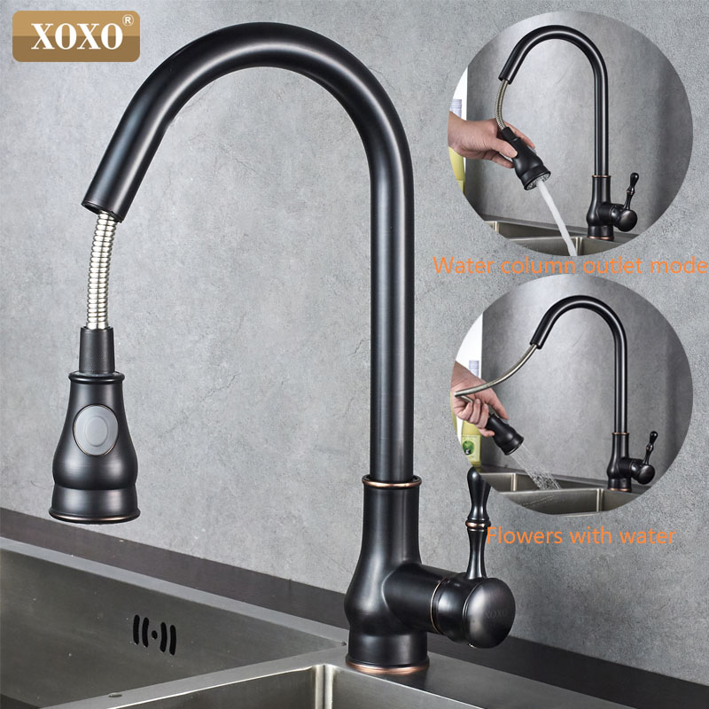 XOXO Kitchen Faucet Cold And Hot Black Chrome Kitchen Sink Faucet Pull Out  360 Degrees Rotation Spray Mixer Tap 83014