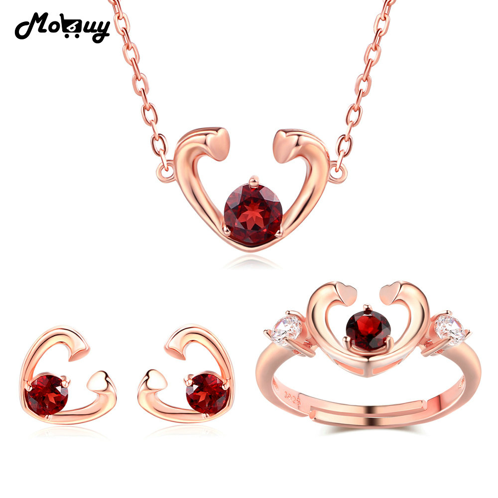MoBuy Natural Garnet Gemstone Romantic 3pcs Jewelr