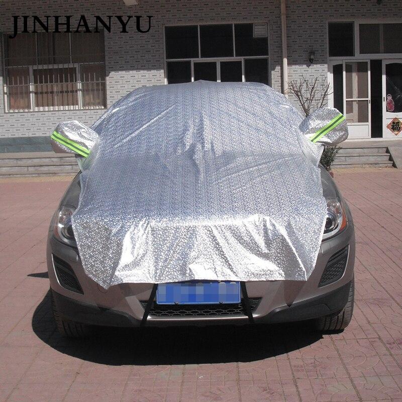 JINHANYU универсальный автомобиль половина крышка предотвратить дождь Защита от солнца снег толстые автомобили Чехлы для мангала покрытие щит
