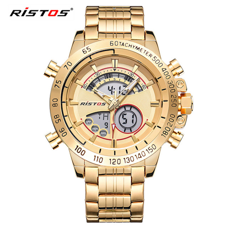 RISTOS Бизнес часы Водонепроницаемый Наручные часы для Для Мужчин Светящиеся мальчиков Нержавеющаясталь Watchstrap Элитный бренд мужской часы 3ATM