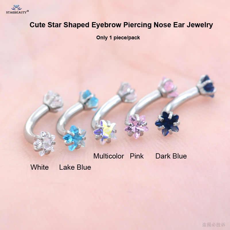 Starbeauty 1 шт. 1,2x8 мм Синий Bijoux Star пирсинг для бровей, пирсинг для пупка labart 16 г кольцо для живота, белая спираль прокалывания ушей, пирсинг, ювелирные изделия