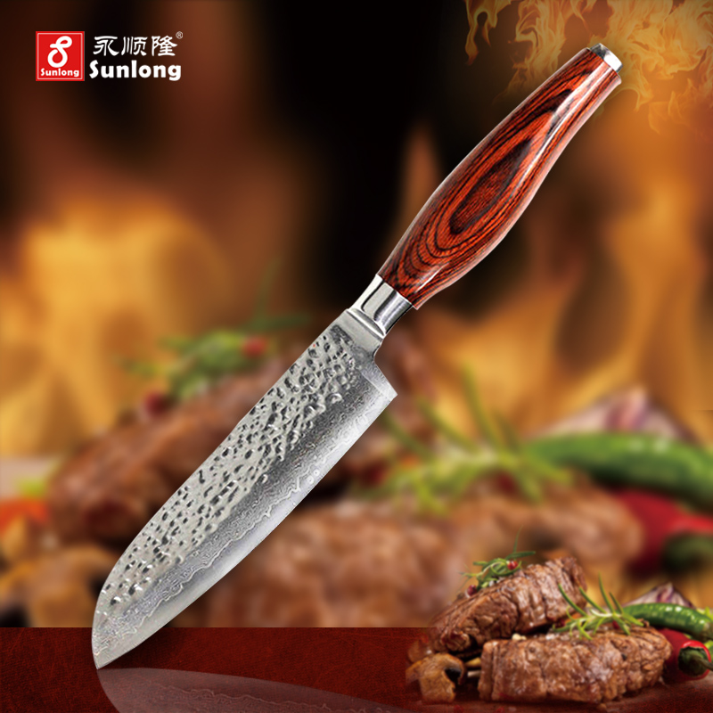 5 inch sharp Santoku Knife chef knife Damascus steel tools Japanese vegetable knife advanced color wood