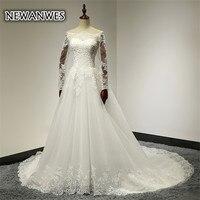 Newanwes עדין חתונת שמלת צוואר סירת שרוולים ארוכי תחרה שמלת כלה אלגנטית רכבת קפלת קו לבן נסיכת שמלת כלה